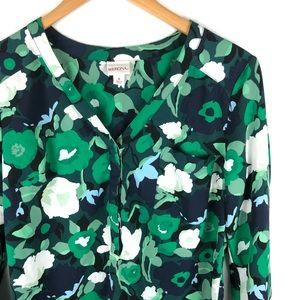 Merona Green Floral Popover
